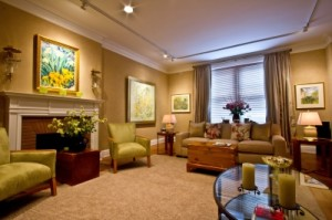 An organized and elegant living room maintained by housecleaning services