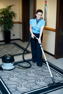 Cleaning the carpet by commercial cleaning services