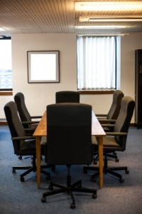A cleaned meeting room by janitorial services